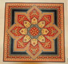 This stunning Bakhtiari Medallion is a hand painted needlepoint canvas from the Canvas Works collection. <br> We can match any canvas with your favorite needlepoint yarn to create custom needlepoint kits. <br>22.75x22.75<br>13m