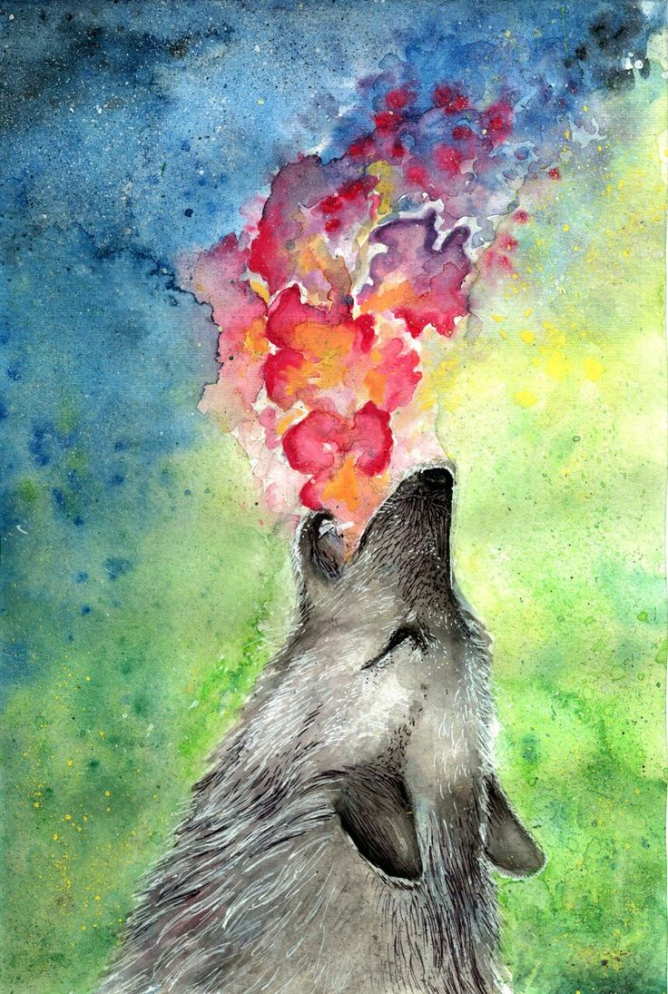 Wolf art colorful hipster werewolves gore and art for Artist canvas paint color