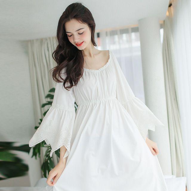 Vintage Nachtkleding Vrouwen Nachtjapon Katoen Kamerjas Lange Jurk Koninklijke Prinses Nachtkledij Comfortabele & zachte stof