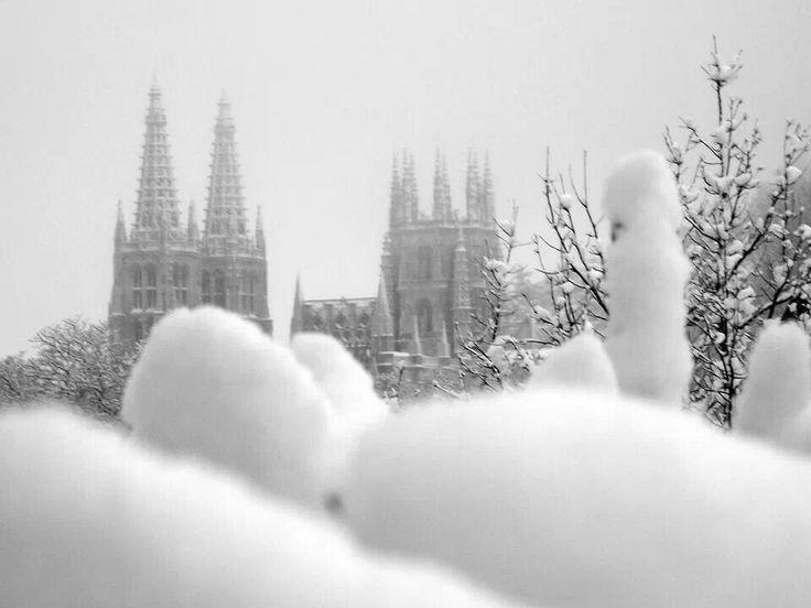 Burgos con nieve -catedral