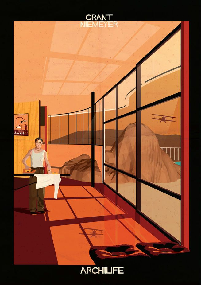 "Cary Grant in Oscar Niemeyer's Casa das Canoas, an imaginary scene from artist Federico Babina's 17-image series ""Archilife."" - Modern Architecture Meets Screen Stars Written by Diana Budds - Dwell"