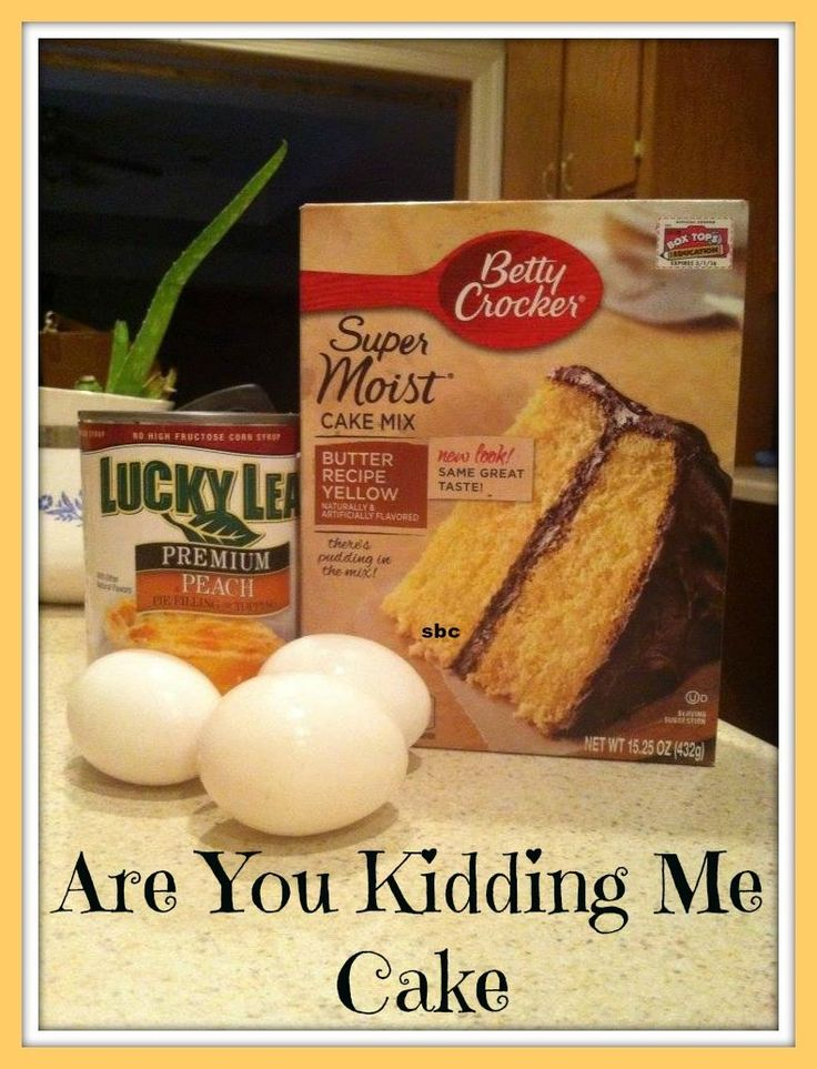 Ingredients: 3 large eggs 1 box cake mix (any flavor) 1 can pie filling (any flavor) Directions: Put the three ingredients into a bowl, mix them well, and bake for 35 minutes at 350 degrees in a 9 x13 pan. It's got almost a pudding-cake kind of consistency, lighter than pound cake. It's spotted on the inside with little pieces of whatever fruit filling you are using. The edges are crispy, like you would get on brownies.