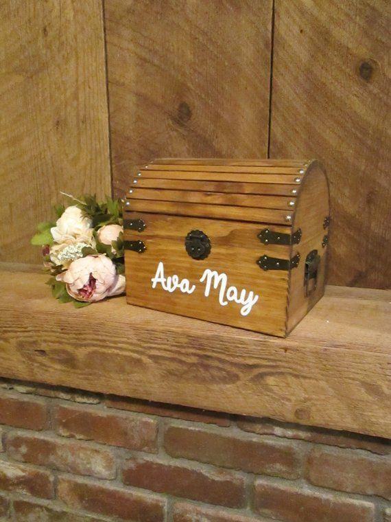 Baby Keepsake Box 1st Birthday Gift Shower Wood Card Wooden Trunk Toy Chest Baptism Christening For Godchild
