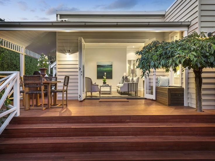Feature Friday: Step inside Darren and Dee from The Block's Home. Timber deck open plan outdoor living area (Patio Step Handrail)