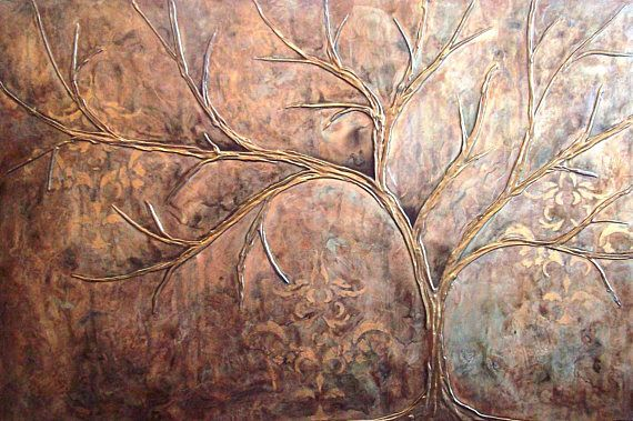 Title: Copper Elegance Size: 24x36 Medium: acrylic on wood, high gloss finish This listing is for a beautiful, custom original, sculptural abstract painting. There is a sculpted tree standing out in bas relief against a background of brocade stencil and 15 layers of metallic glazes