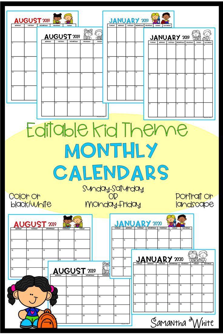 Monthly Editable Calendar 2020 2021 Kid Theme Kids Calendar Monthly Calendar Editable Calendar
