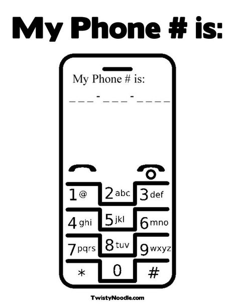 Practice phone number Have been looking for a cell phone print out!