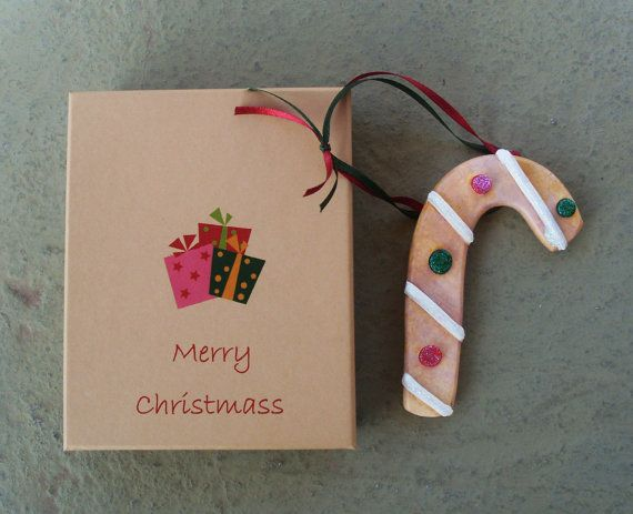 CANDY CANE  Ceramic Ornament by allabouthandicraft on Etsy