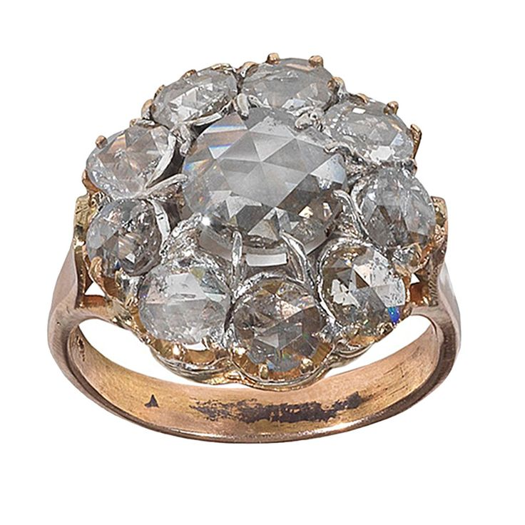 Antique Rose Cut Diamond Gold Cluster Ring | From a unique collection of vintage cluster rings at https://www.1stdibs.com/jewelry/rings/cluster-rings/