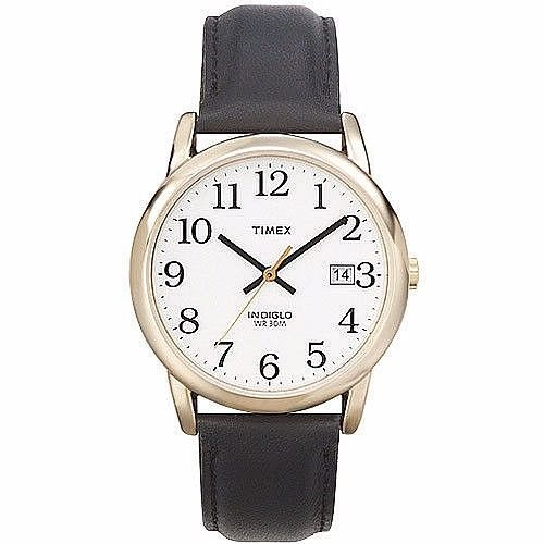 Timex Easy Reader Men's Analog Watch With Black Leather Strap Classic New       #Timex