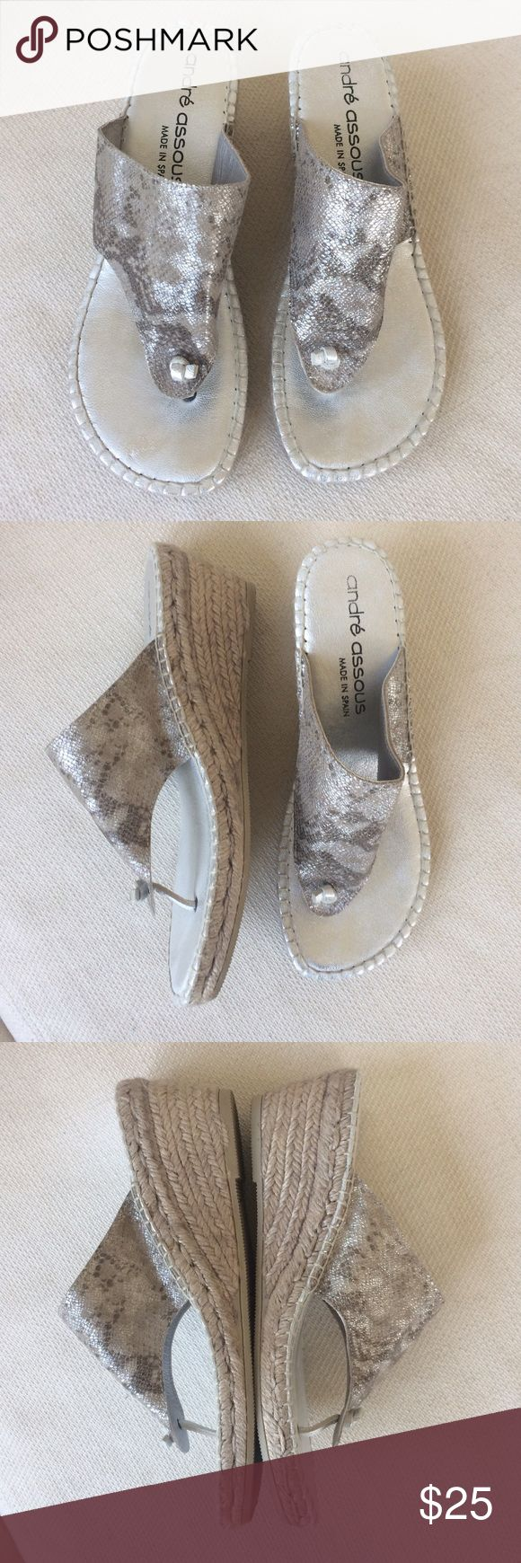 Andre Assous Silver Metallic Espadrille Wedges Lightly used, great condition! Andre Assous Shoes Sandals