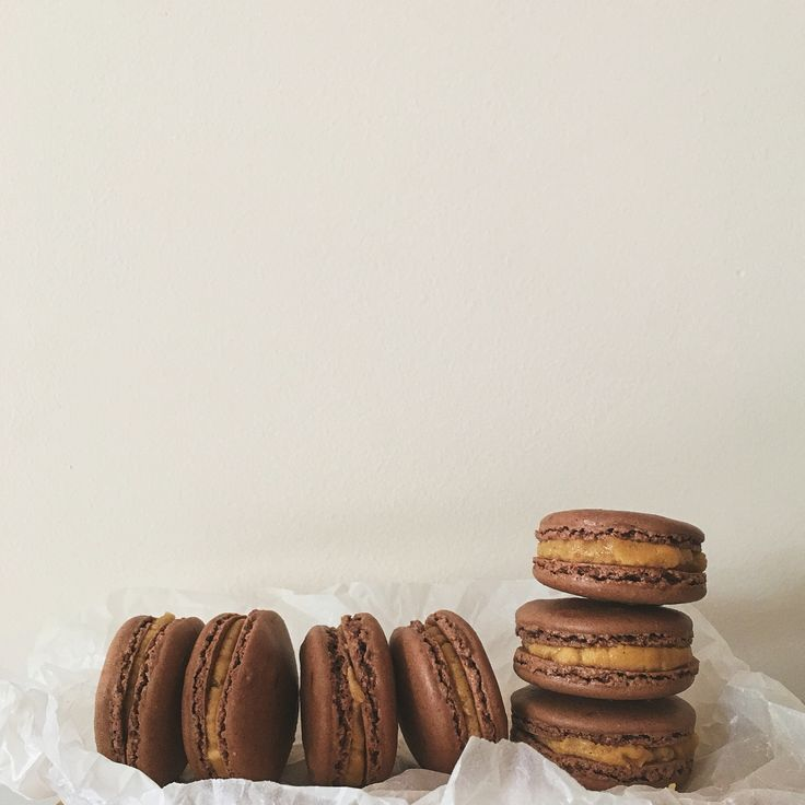 #adorastartsbaking Chocolate Macarons w Peanut Butter Fillings.