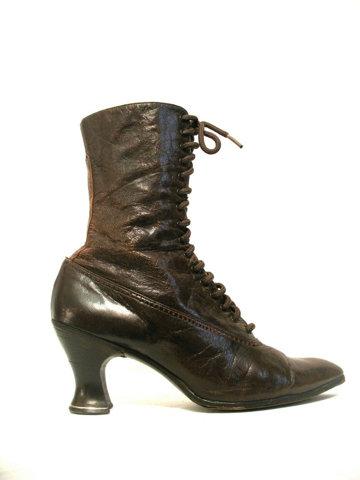 Calling all Steampunk fans! Edwardian brown leather lace-up walking boots.