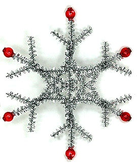 Vintage Holiday Ornament - Use Tinsel Pipecleaners (9 total) & Red Beads.. I <3 This But Want To Use Pearly White & Blue & Green Beads!! ...... Were The Vintage Ones Always Red Beads???