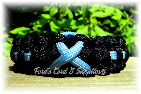 Light Blue Awareness Ribbon Paracord Bracelet Prostate Cancer, Addison's Disease, Edwards Syndrome, Scleroderma, Graves Disease, Behcets