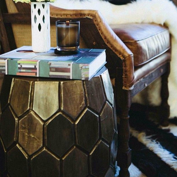 Antique finished metallic Hex Stool, styled by @thehomecomau for @Jen Bishop. Available for Australia wide delivery www.boydblue.com #boydblue #metallic #styling #interiorsaddict #interiors #interiordesign