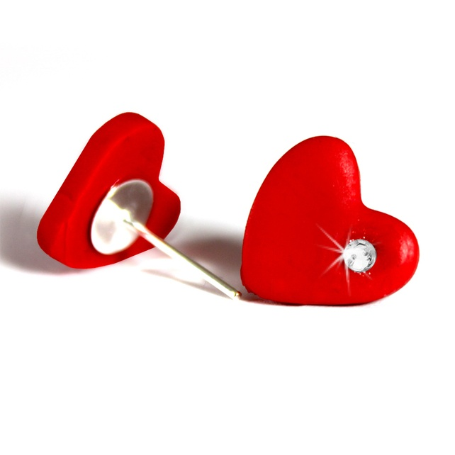 Cute Mini Heart Diamante Polymer Clay Stud Earrings (Red) £1.19