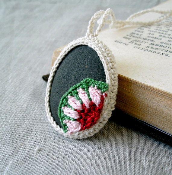 Crochet Stone Necklace - Crochet Jewelry - Crochet Floral Motif Stone Necklace - Beach Stone Pendant - Eco Friendly Necklace via Etsy