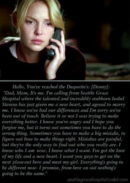 Denny Duquette Last Message Shows Pinterest Greys