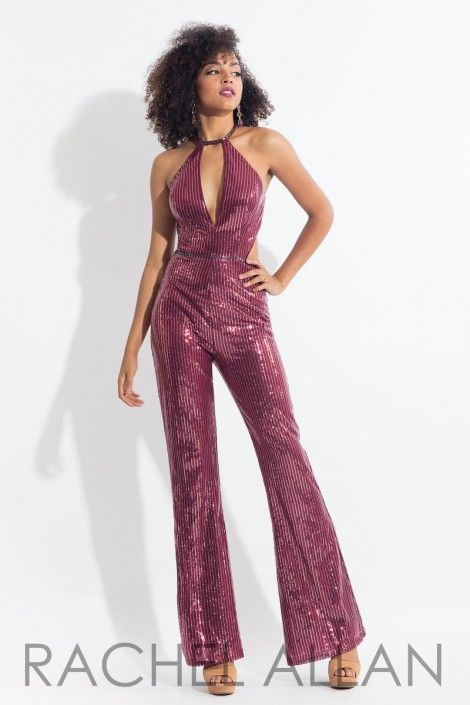 63d1533bdcfc Style 6210 from Rachel Allan is a plunging V neck sequin jumpsuit with a  cutout back and racer back.