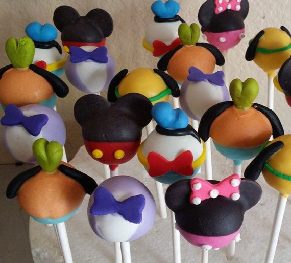 12-mickey mouse clubhouse cake pops by Chevonscouturesweets