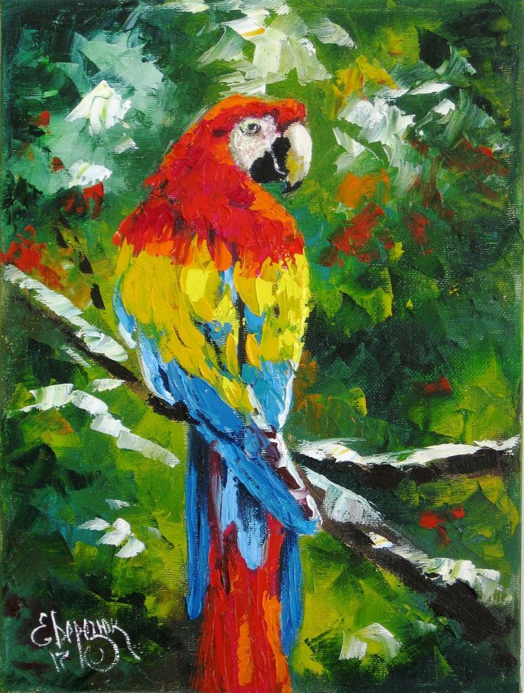Tropical Painting On Canvas Decor Bird Lover Gift Wall Art This Is An Original Palette Knife Oil