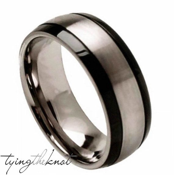 Best Titanium Wedding Band Titanium Engagement ring for Men and Women Titanium Polished Brushed Center and Black Grooved Sides