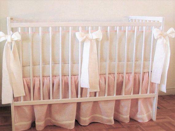 Linen Crib  bedding   skirt and 4 side bumper  girl  crib