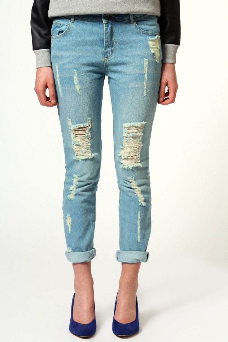 Lexi Distressed Boyfriend Fit Jeans £25 >> http://www.boohoo.com/restofworld/collections/denim-blues/icat/denim-blues/fashion-denim/lexi-distressed-boyfriend-fit-jeans/invt/azz50329 #denimdaze