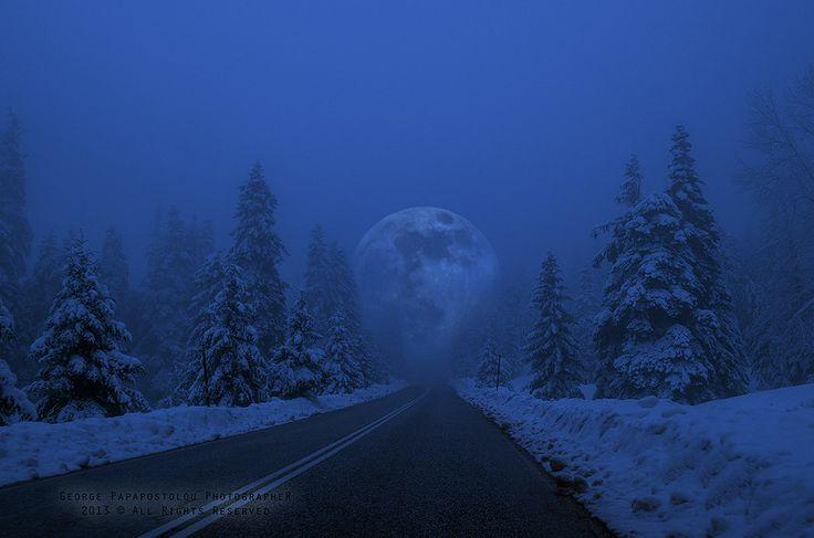 Full Moon in snowy landscape!
