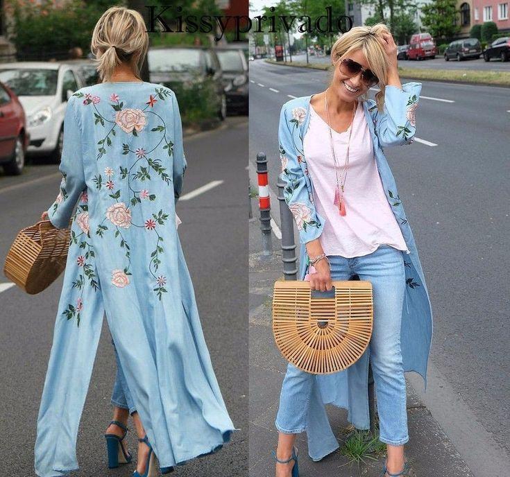 NWT ZARA LONG Kimono Embroidered Floral DRESS  SIZE M Ref.0881/044 #ZARA #BeachDressMaxiSundressTunic #Casual