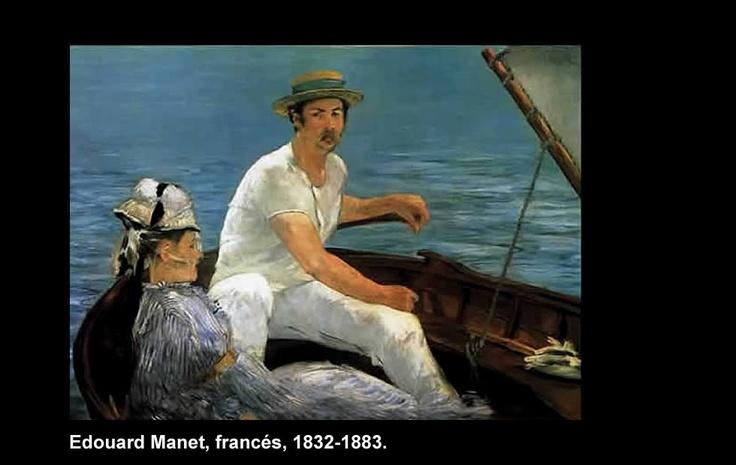 """Edouard Manet (1832-1883)  Nació en París, Francia. Marcó una influencia importante en la pintura moderna del siglo 20 y posterior.  """"En el Bote"""""""