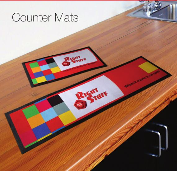 Custom Branded Counter Mats are versatile products which make excellent brand exposure tools. They are also great for protecting counter tops from wear and tear. The current massive clearance sale should whet your branding appetite: http://rightstuff.tv/newsletter-1-7-2014.html