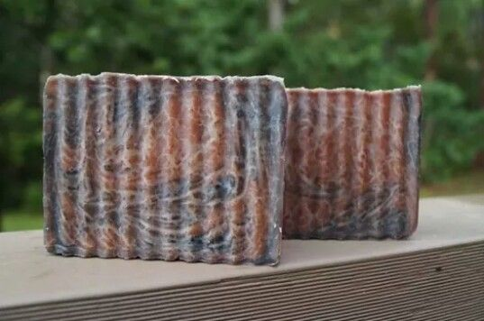 Turkish Mocha CP Soap.  In the pot swirl with charcoal and cocoa.