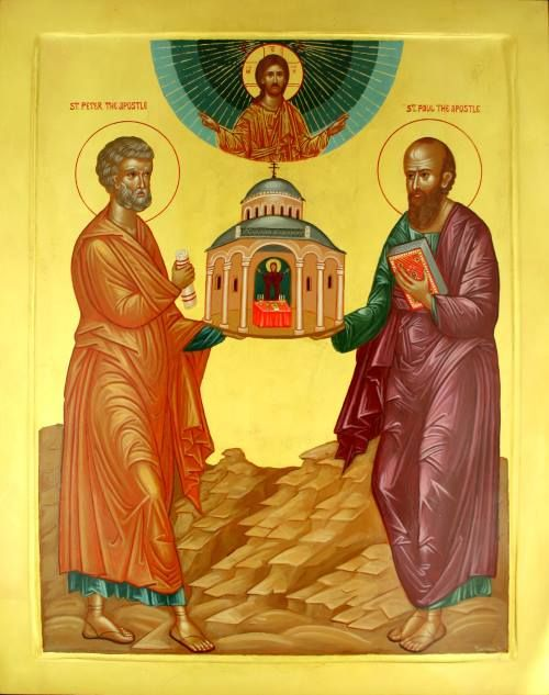 "The Holy Glorious and All-Praised Leaders of the Apostles, Peter and Paul (Troparion, Tone 4): ""Apostles, and teachers of the universe: entreat the Master of all to grant peace to the world, and to our souls great mercy."""