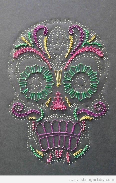 Sugar Skull String Art | String Art DIY | Free patterns and templates to make your own String Art