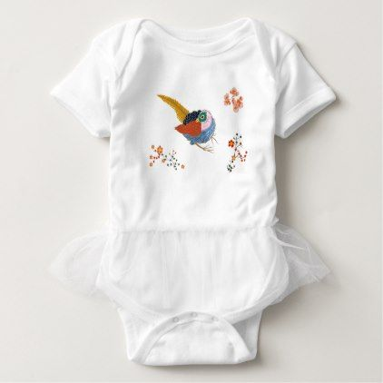 Fabulous large bird with Golden feathers. Japanese Baby Bodysuit - spring gifts beautiful diy spring time new year