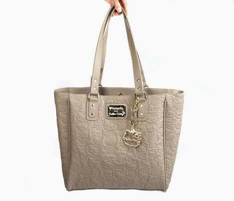Hello Kitty Embossed Tote Bag: Taupe