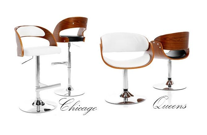 Chicago barstol - Höj- och sänkbar barstol med mjukstoppad sits i konstläder och eucalyptusträ m valnötsfinish , underrede i kromat stål.  Queens fåtölj - Snurrfåtölj med mjukstoppad sits i konstläder och eucalyptusträ m valnötsfinish, underrede i kromat stål.
