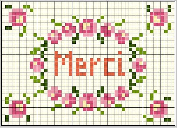 Merci, free chart by Les Loisirs d'Abbygaelle