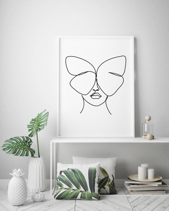 Abstract woman face with butterfly wall decor print. One