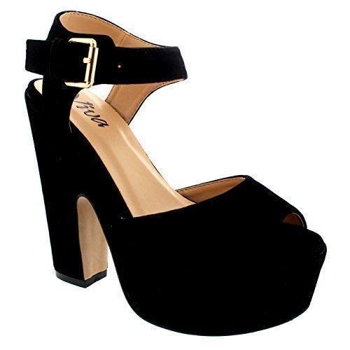Oferta: 26.99€. Comprar Ofertas de Mujer Correa Tobillo Zapatos Plataforma Tacones Faux Gamuza Sandalias - Negro - 40 barato. ¡Mira las ofertas!
