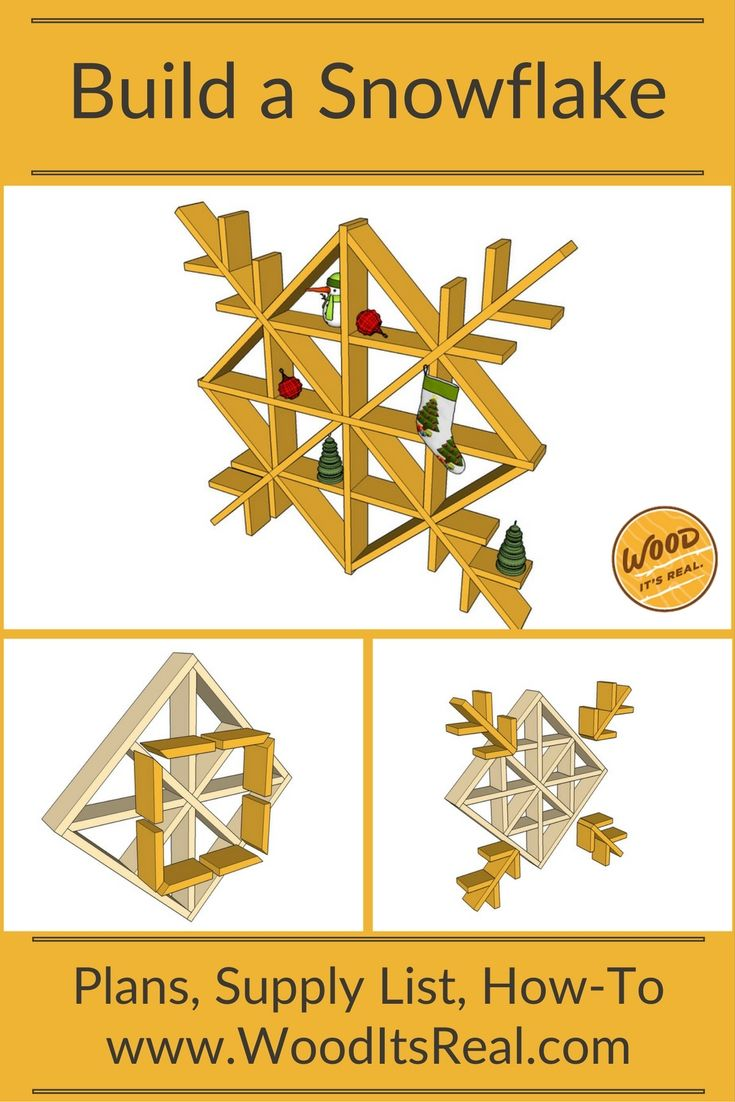 Built with decking boards: a simple yet stunning snowflake. Free plans here!