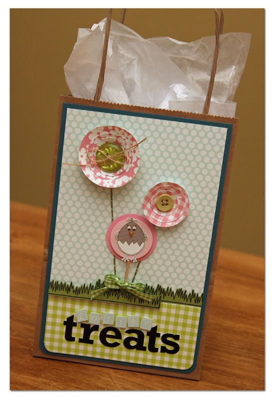 56 best handmade gift bags images on pinterest gift wrapping so cute easter gift bag negle Gallery