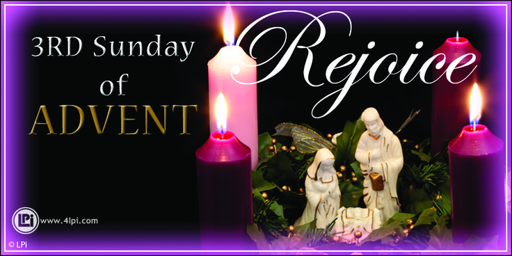 Third Sunday of Advent Candles. #Catholic #Clipart