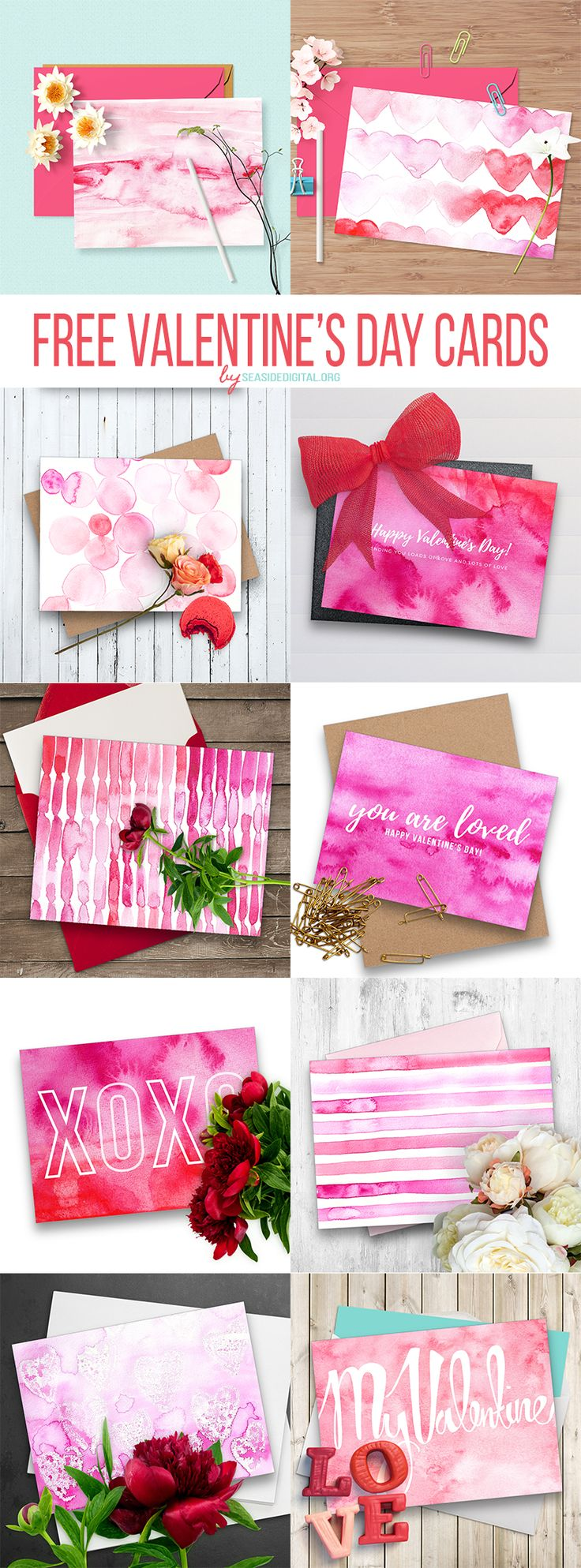 10 Free Watercolor Valentine's Day Cards