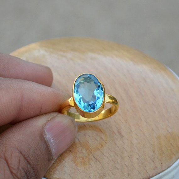 Topacio azul Suiza anillo  anillo de plata de ley 925