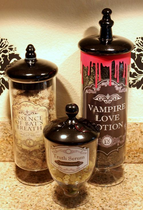 bottles like this in the bathroom pinned from pinto for ipad - Halloween Bathroom Decorations