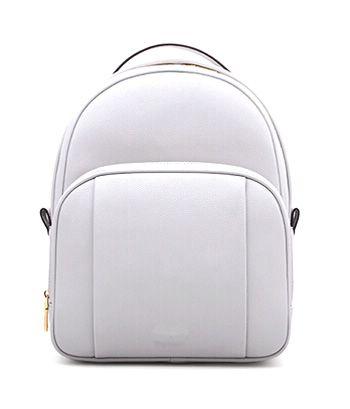 White Colour Curved Cut PU Women Backpack