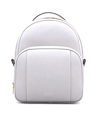 White Colour Curved Cut PU Women Backpack